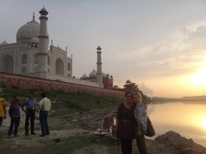 The Taj Mahal and the River Ganges..